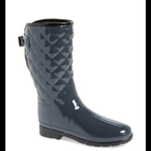 Hunter Refined Quilted grey Gloss rain boots 8